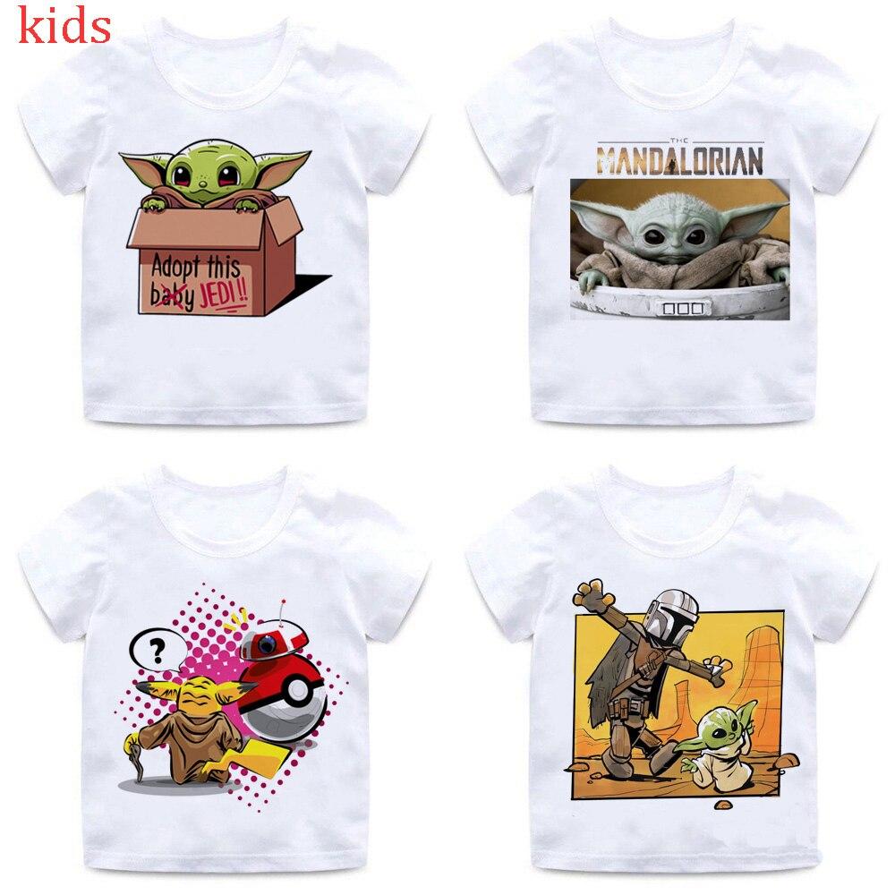 Bébé Yoda T-shirt enfants haut d'été dessin animé Star Wars T-shirt Cool garçons/filles Kawaii drôle mandalorien graphique T-shirt enfants