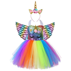 Image 2 - Cute Kids Unicorn Theme Birthday Party Unicorn Dress Girl Rainbow Sequin Top Christmas Dress for Baby Girls Unicorn Baby Clothes