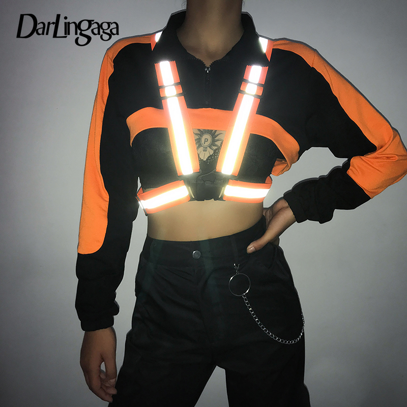 Darlingaga Neon Color Reflective Suspender Stripe Shoulder Strap Women Ornaments Streetwear Adjustable Cummerbunds Slim Fashion