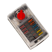 цена Jtron 12way fuse box 12v 100A max M4 screw terminal LED indicator close-open cover with ATC fuse wire full kit for car yacht онлайн в 2017 году