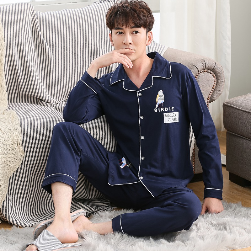 2020 Spring Autumn 100% Cotton Pajamas Sets For Men Long Sleeve Cute Cartoon Sleepwear Pyjama Male Homewear Lounge Home Clothes