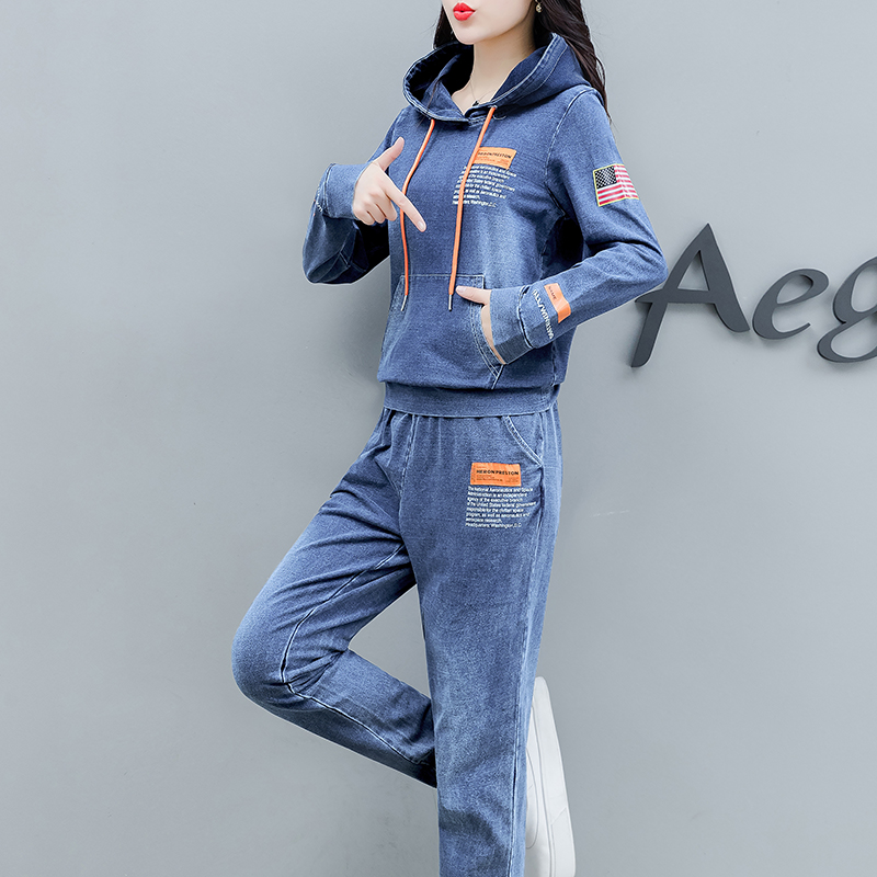 Co-ord Set Denim Two Piece Set Women 2019 Hoodies Pant Suits And Top Winter Autumn Outfit Clothing Matching Jeans 2 Pc Sets