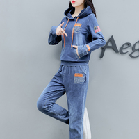 Co ord Set Denim Two Piece Set Women 2019 Hoodies Pant Suits and Top Winter Autumn Outfit Clothing Matching Jeans 2 Pc Sets
