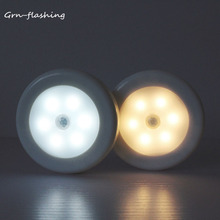 Bezprzewodowa lampka nocna 6 LED zasilany z baterii lampka nocna z czujnikiem ruchu funkcja automatycznego włączania wyłączania do oświetlenia sypialni w domu tanie tanio GRN-FLASHING Night Light ROUND CN (pochodzenie) ROHS 6LED-Motion-Night-Light Lampki nocne Żarówki LED Ogniwo suche W nagłych wypadkach