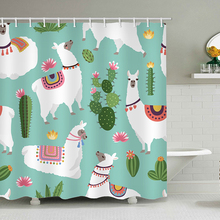 Lovely Cartoon Alpaca Cactus Pattern Polyester Waterproof Shower Curtains With Rectangle Bath Curtain