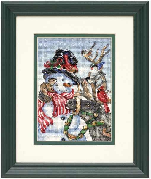 MM di Alta Qualità Bella Contati Punto Croce Kit Pupazzo di Neve e Renna Uccelli Inverno Neve dim 08824