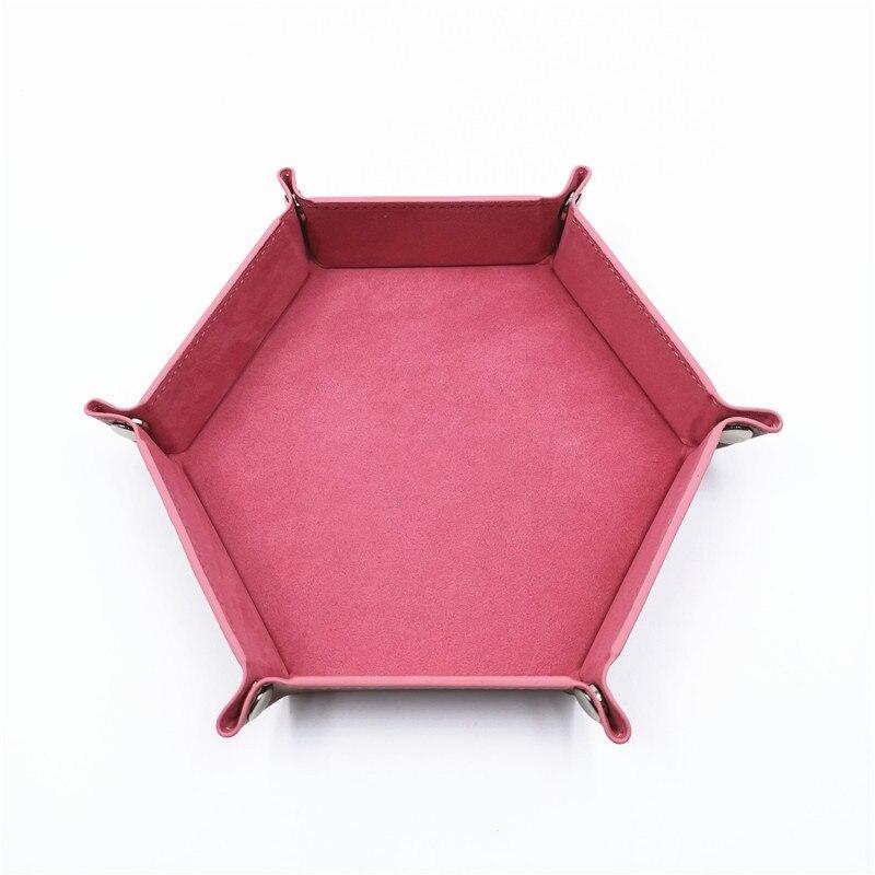 Игральные кости DND лоток dados de rol для хранения 14 цветов шестигранный бархатный тканевый Пинцет дисковый складной ящик для хранения pu лоток Настольный ящик для хранения - Цвет: Розовый