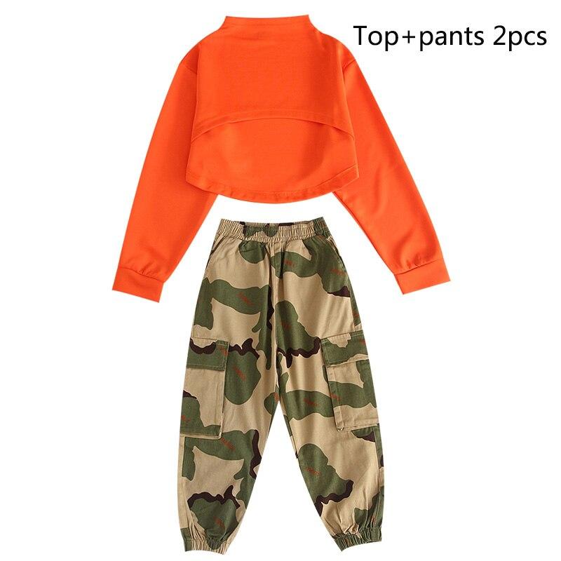 Детские костюмы для джазовых танцев, Летний жилет для девочек, камуфляжные штаны, наряд, танцевальные костюмы в стиле хип-хоп, одежда для сцены - Цвет: 2pcs