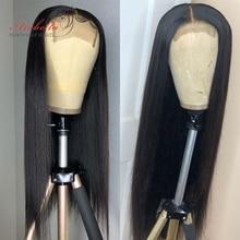 Арабелла бразильское закрытие парик прямые волосы 180% Плотность предварительно вырезанные с детскими волосами 4x4 закрытие парик волосы Remy парики из натуральных волос