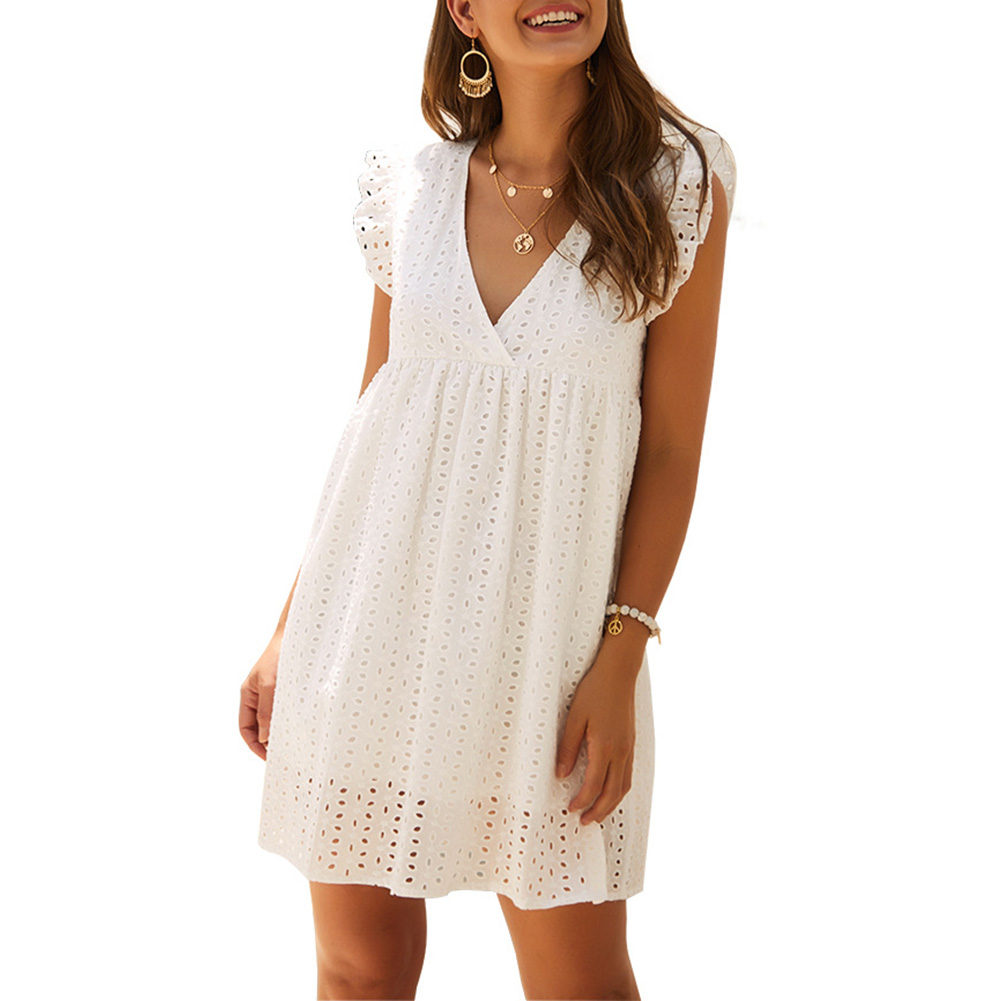 Hot Women V-neck Lace Dress Sleeveless Loose Short Mini Dress Sundress Summer Beach K2
