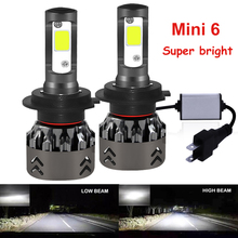 H4 H7 LEDหลอดไฟชิปCOBไฟหน้ารถLED MINI Lightรถยนต์หลอดไฟH1 9006 HB4 HB3 9005 H11 อัตโนมัติH7 LEDS H4 H11
