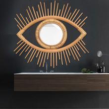 Marco de ojo artesanal de ratán de Estilo Vintage foto creativa marco para espejo colgante de pared arte creativo DIY decoración artesanal