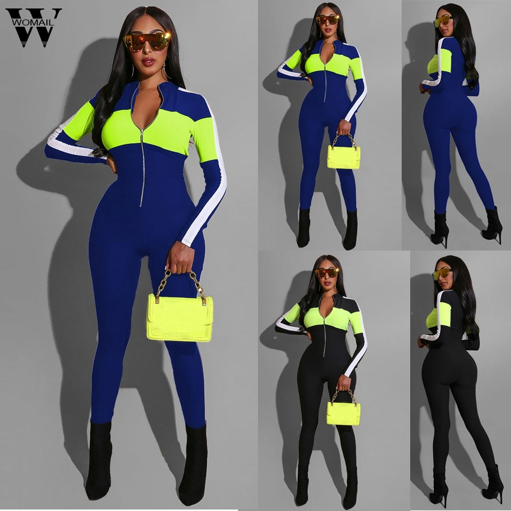 Womail Jumpsuit Women Sexy Fitness Stitching V neck   Rompers   Long Sleeve Workout Active Wear Skinny   Romper   Club Overall Sport