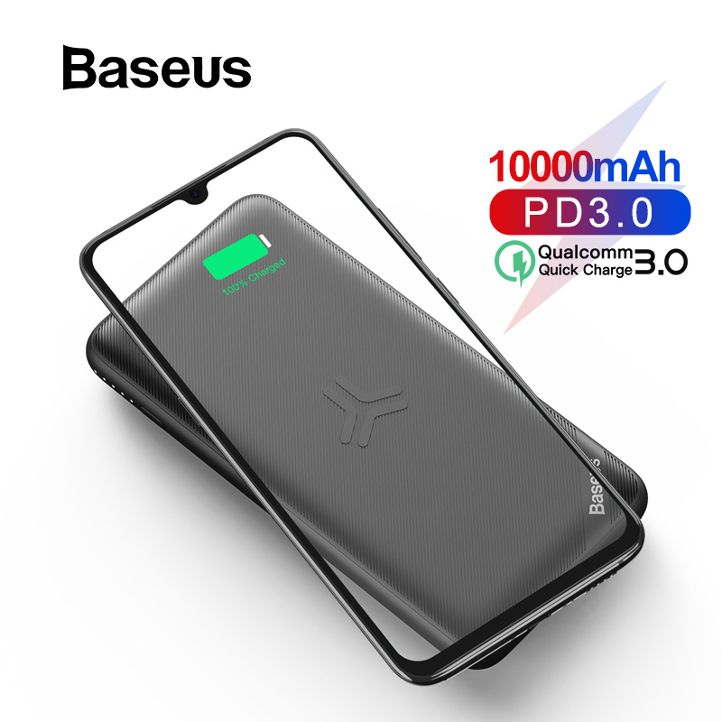 Baseus 10000mAh Power Bank Qi Wireless Charge For IPhone 11 Pro Max Samsung Powerbank USB PD Fast Charging Slim External Battery