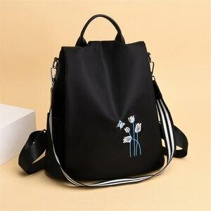 Image 2 - Elegante Frauen Stickerei Rucksäcke Mochila Feminina 3 In 1 Licht Schule Tasche für Mädchen Rucksack Anti diebstahl Design Reise rucksack