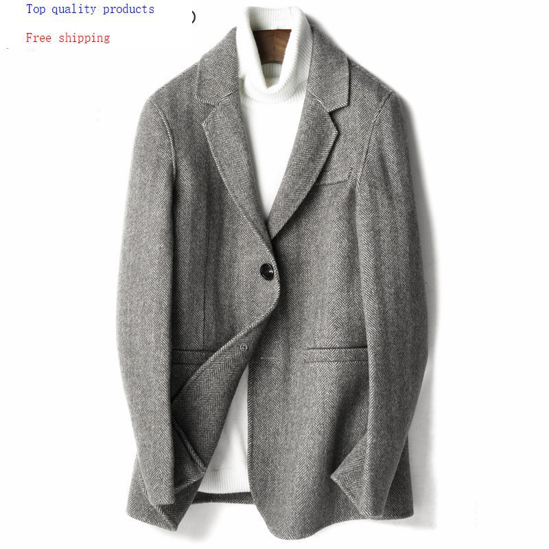 Wool Coat Men Spring Autumn Korean Jacket Slim Fit Blazer Mens Coats And Jackets Casaco Masculino D-19-00818 KJ3016