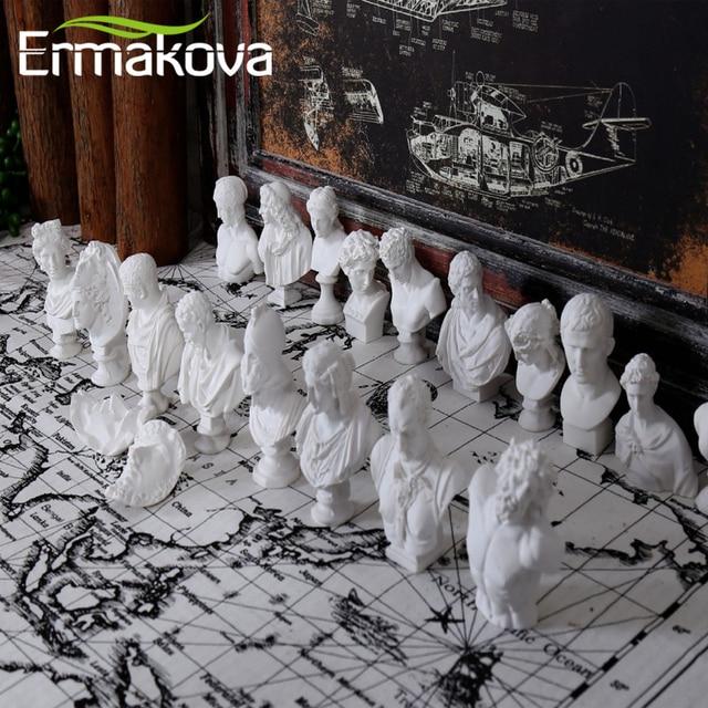 ERMAKOVA 10 Pcs/Set Different Plaster Bust Figurine Mini Ancient Greek Roman Mythology Figure Bust Sketch Statue Home Decoration 5