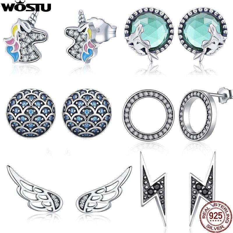 WOSTU 100% 925 Sterling Silver Flower Unicorn Fairy Stud Earrings For Women Original Wedding Earrings Fashion Silver 925 Jewelry