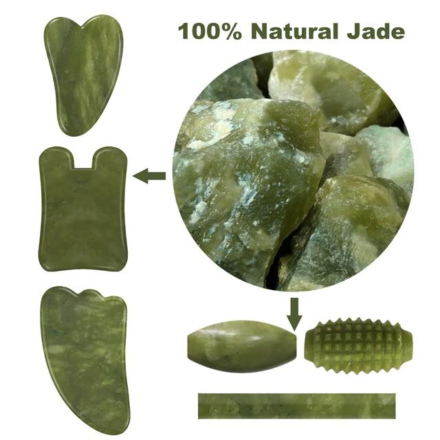 Drop Shipping Face Massage  Jade Roller Facial Massager Guasha Board Set 100% Natural Gouache Scraper Real Stone Jade Roller 5