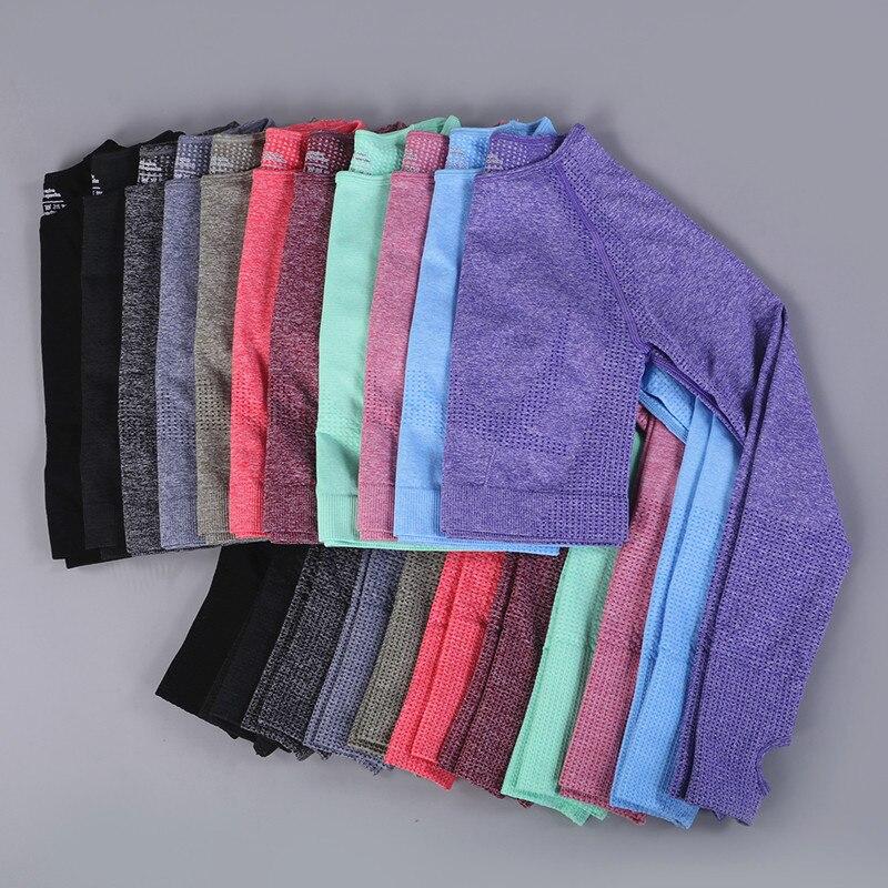 Camisas sem Costura Esportivas de Yoga Curtas de Manga Comprida para Academia Camisetas Yoga Fitness Camisas 2020