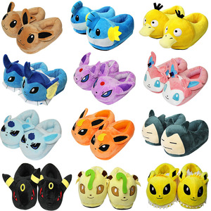 Eevee Umbreon Jolteon Sylveon Glaceon Psyduck Snorlax Mudkip Plush Indoor Slippers Stuffed Winter Warm Home Shoes for Adult Gift