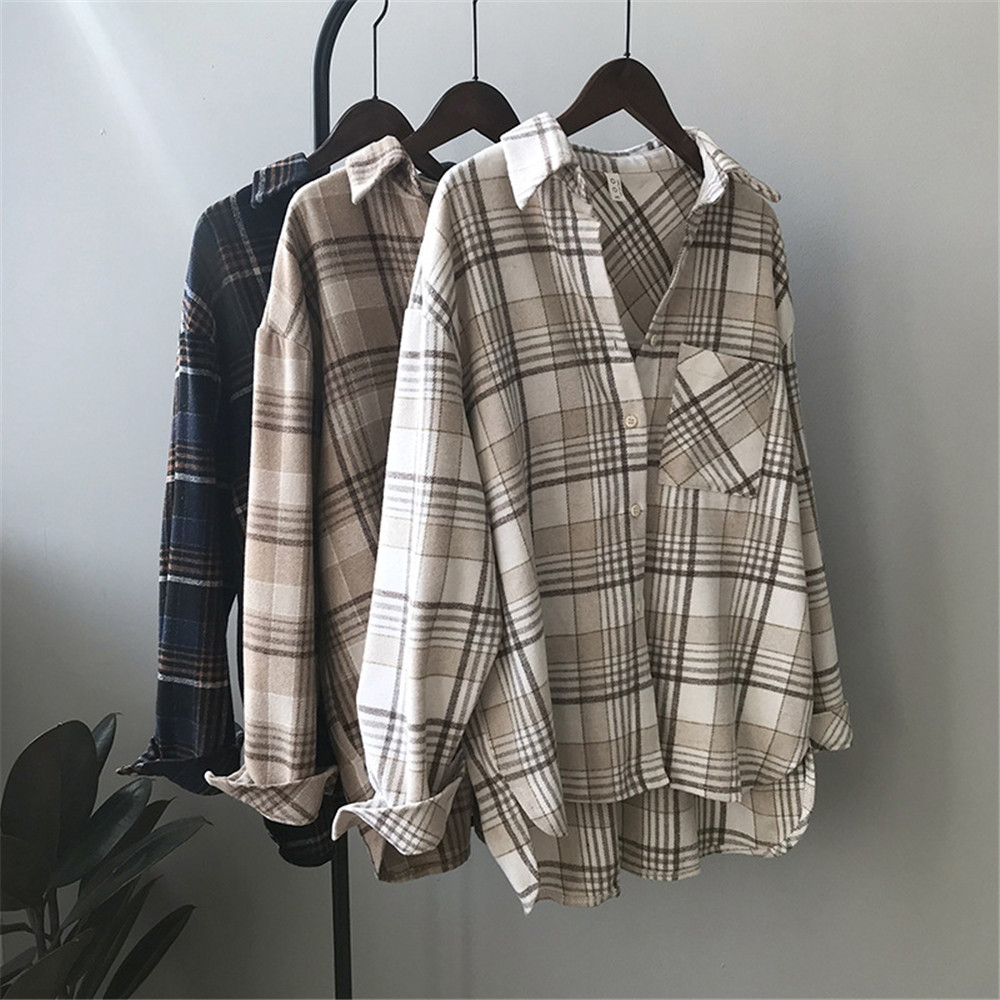 Spring Thick Loose cotton plaid Women blouses shirt 2020 female long sleeve Casual Warm women Blouse shirt office lady top Y0675 (10)