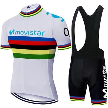 Maillot movistar-Conjunto de pantalones cortos de top bicicleta para hombre, ropa de...