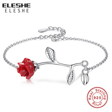 ELESHE Luxury Real 925 Sterling Silver Bracelet with Red Rose Flower Charm Bracelet & Bangles for Women Wedding Fine Jewelry