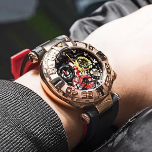 Image 2 - Reef Tiger/RT relojes deportivos para hombre, cronógrafo rosa, mecanismo a la vista dorado, resistente al agua, masculino, RGA3059 S