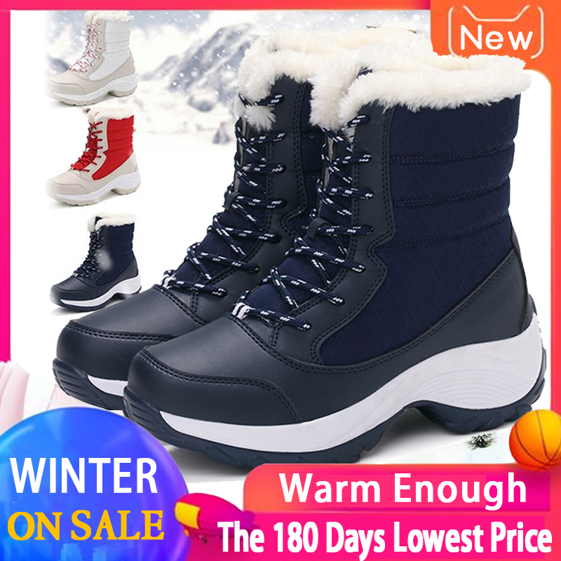 2019 Women Snow boots Waterproof Non-slip Parent-Child Winter Boots Thick Fur Platform Waterproof and Warm Shoes Plus Size 31-42 37