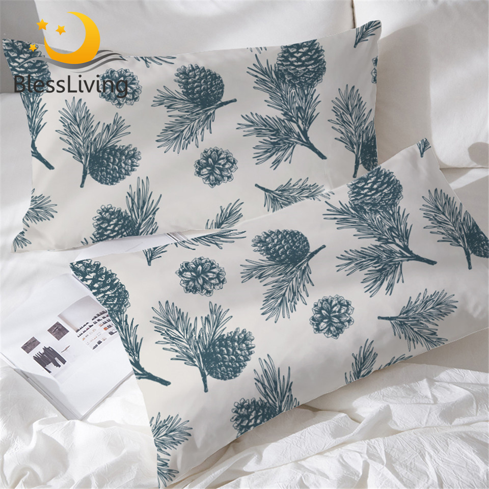 BlessLiving Pine Cones Pillowcase Green Natural for Adult Pillow Case Pine Tree and Leaves Pillow Cover Fresh Bedding 50x75cm image