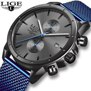 2020 nouveau LIGE hommes montres en acier inoxydable étanche montre hommes haut marque de luxe Quartz horloge mode mâle affaires montres + boîte