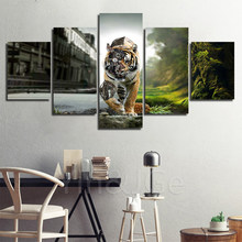 Home Decor Steampunk Abstract Canvas Painting Animal Tiger Pictures Wall Art Prints Modular Poster For Living Room Frame Artwork(China)