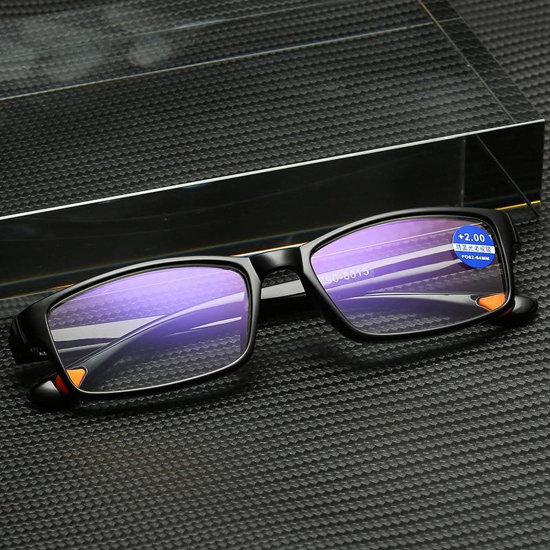 Ultra-Light Reading Glasses Anti Blue Light Men Vintage Black Non-slip Presbyopic Glasses Plastic Full Frame Square Women TR90