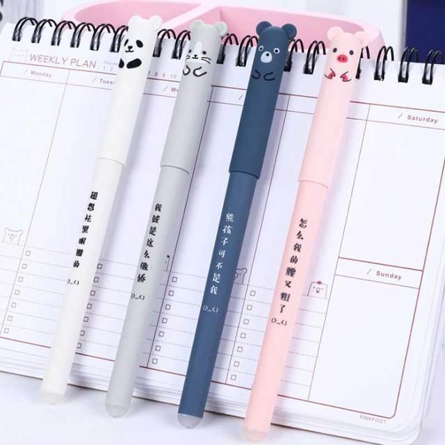 26Pcs/Lot Cute Animals Erasable Pen Refill Set Washable Handle 0.35mm Blue ink Erasable Rods Ballpoint pen for School Stationery 4