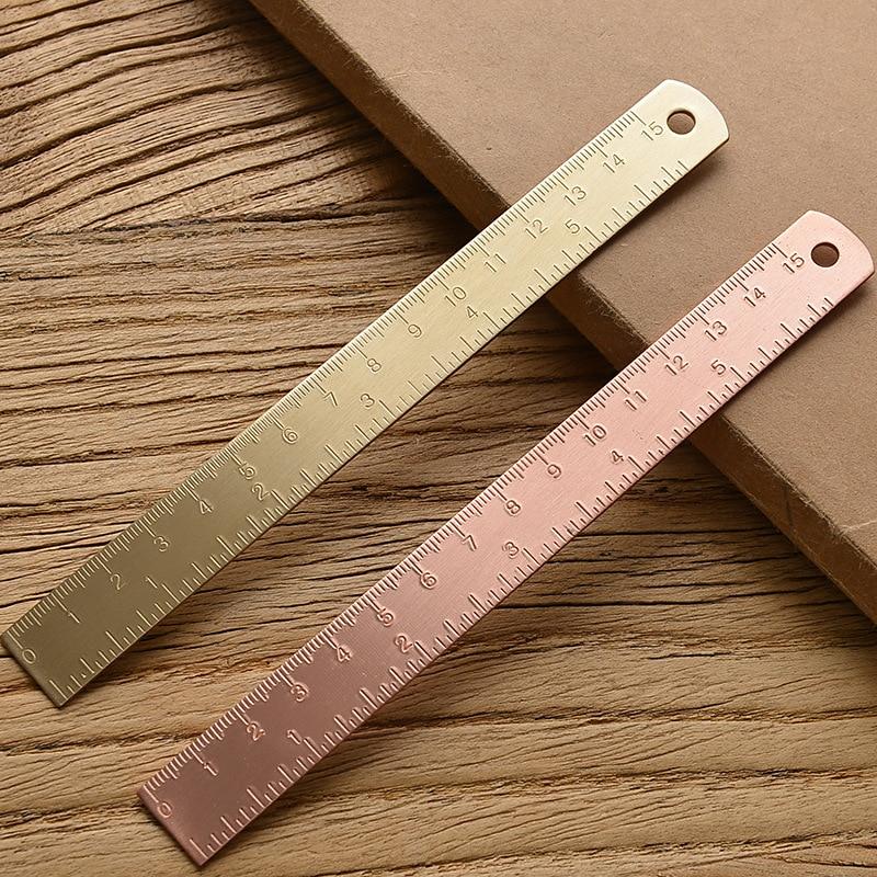 Regla recta de latón de 15Cm para el colegio y la Oficina, artículos de papelería, herramientas de dibujo y pintura de Cancillería, marcapáginas de medición de oro rosa, regla
