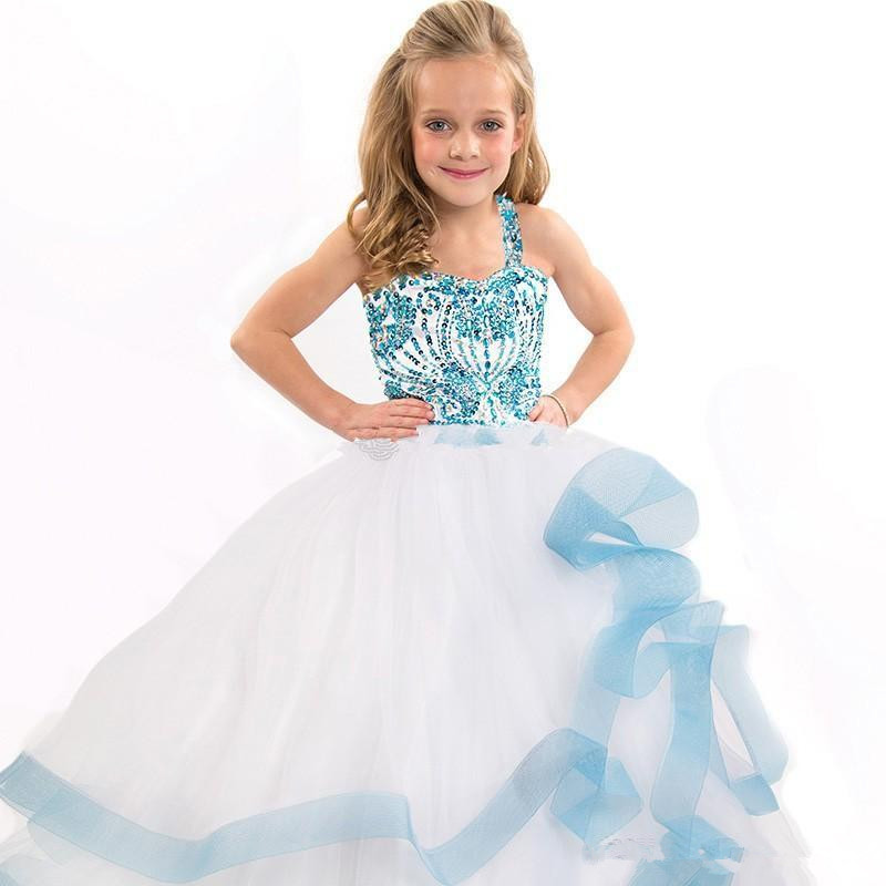 White Girls Pageant Dresses Ball Gown  Tulle Beaded Crystals Tiered Long Flower Girl Dresses For Weddings Little Girls