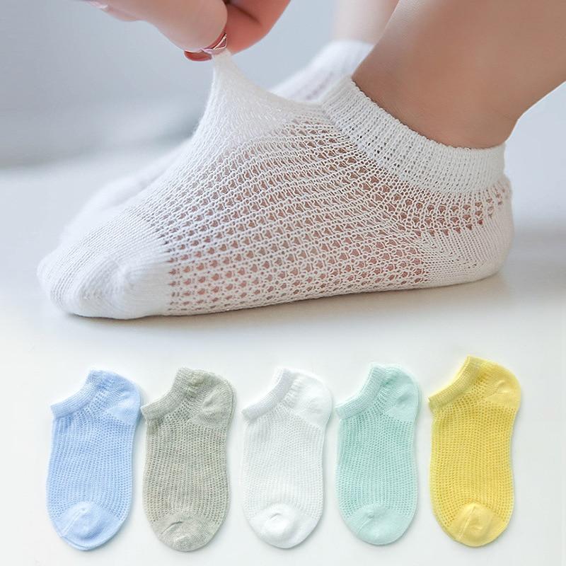 5 Pairs/Lot Children Cotton Socks Boy Girl Baby Infant Ultrathin Fashion Breathable Solid Mesh Socks For Summer 1-12T Teens Kids 3