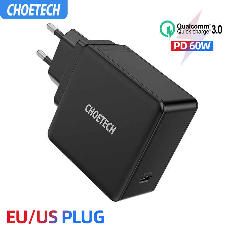 Choetech PD 60W USB-C Dinding Charger untuk MacBook Pro/Air iPad Pro Samsung Asus Acer Dell Tablet Charger QC 3.0 untuk Nintendo Switch