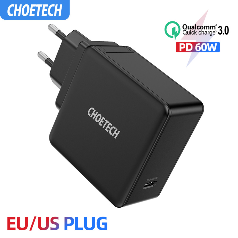 CHOETECH PD <font><b>60W</b></font> <font><b>USB</b></font>-C Wall <font><b>Charger</b></font> For MacBook Pro/Air iPad Pro Samsung ASUS Acer Dell Tablet <font><b>Charger</b></font> QC 3.0 for Nintendo Switch image