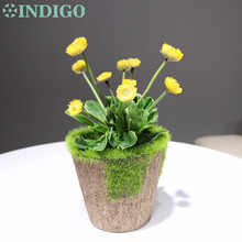 INDIGO - 10 flowers Yellow Dandelion Bonsai Artificial Succulent Plant Real Touch Plastic Flower Table Decoration Free Shipping indigo 5 plants 1tray set bonsai red flowers artificial succulent plant plastic flower table decorationfree shipping