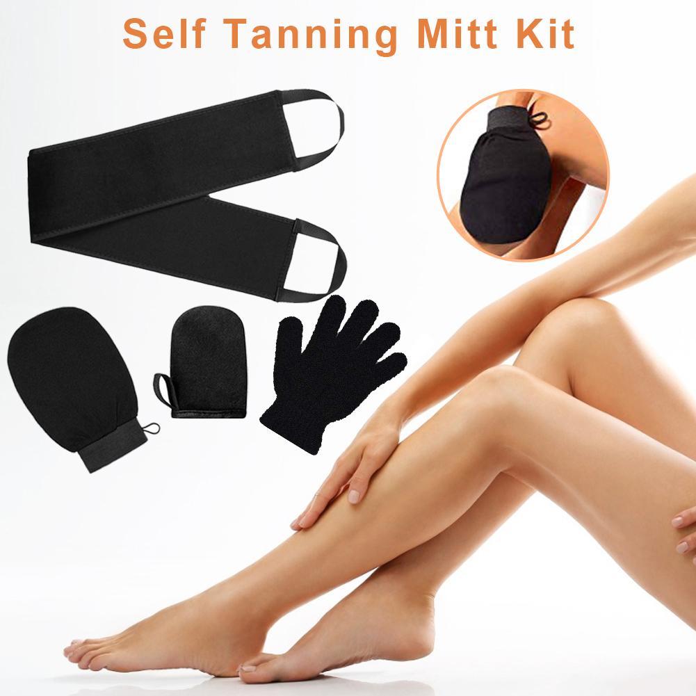 4Pcs Self Tanning Mitt Applicator Kit Body Cleaning Glove Self Tanning Reusable Body Self Tan Applicator Tanning Gloves