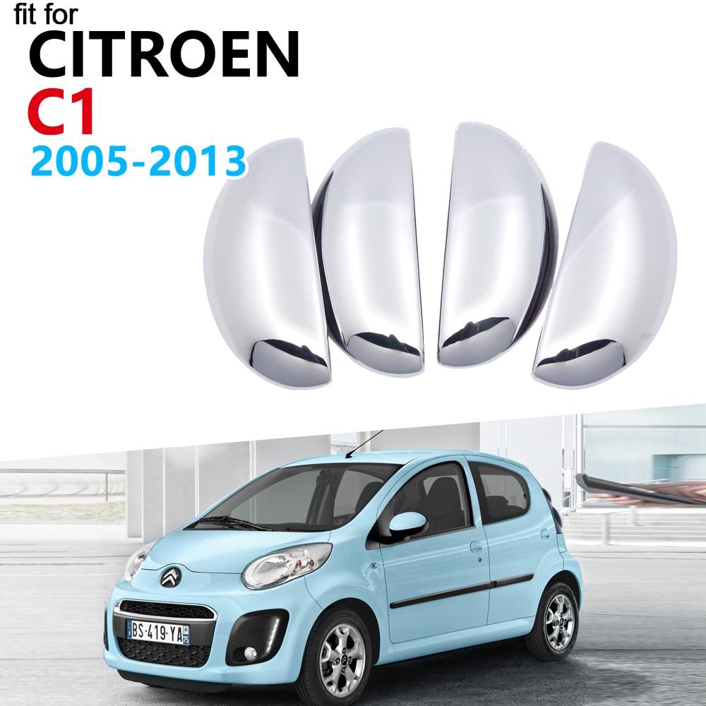 Luxurious Chrome Door Handle Cover Trim Set For Citroen C1 MK1 2005~2013 Accessories Stickers 2006 2007 2008 2009 2010 2011 2012