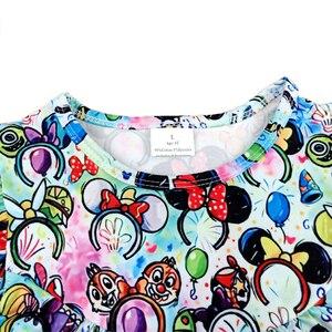 Image 2 - فساتين للفتيات الصغيرات لربيع وصيف 2020 بتصميم جديد فستان بنمط رأس ميكي ملون للأطفال ملابس رفرفة ميلك سيلك