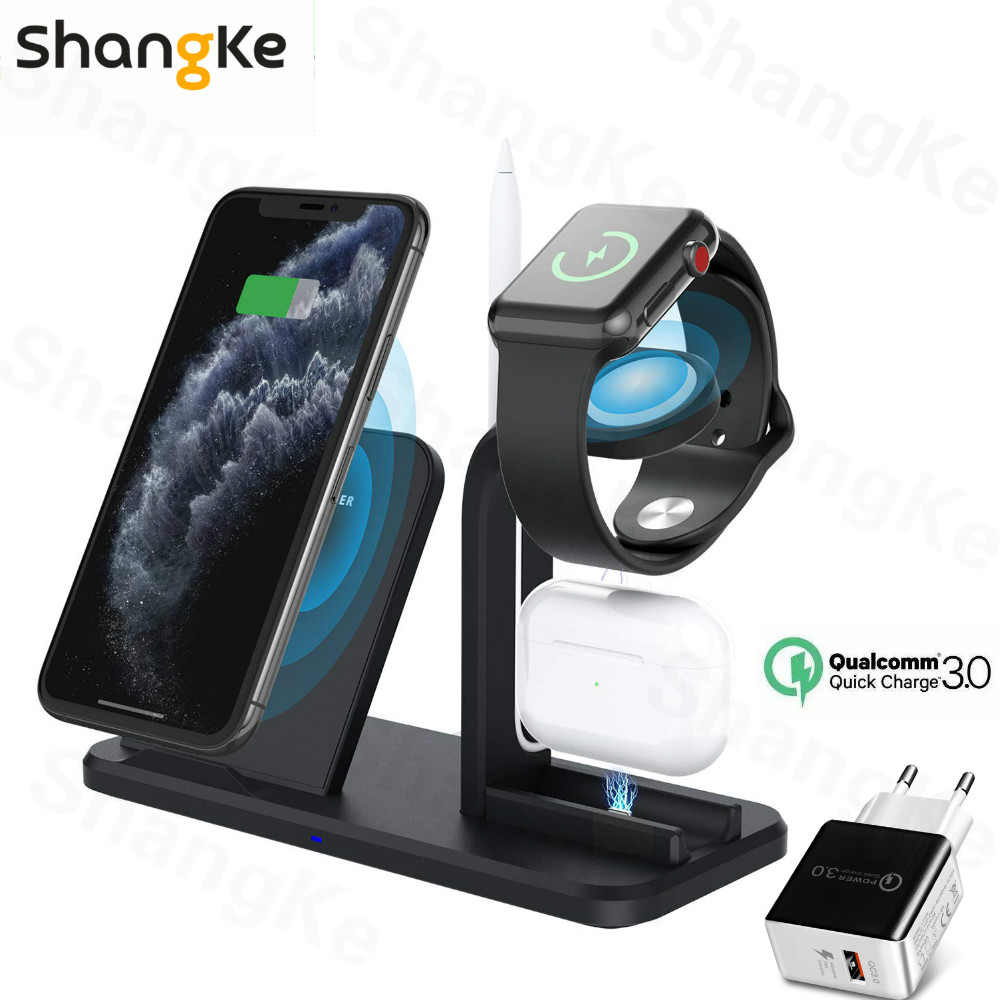 Wireless Charger 3 in 1 For iWatch 5 4 3 Charging Stand Qi Fast Charging Station Base for iPhone11 X 8Plus XS XR AirPods Charger