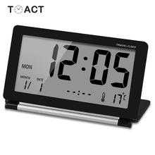 Travel Clock LED Digital Alarm Clocks Multifunction Silent Electronic LCD Large Screen Folding Desk Watch Temperature Date Time