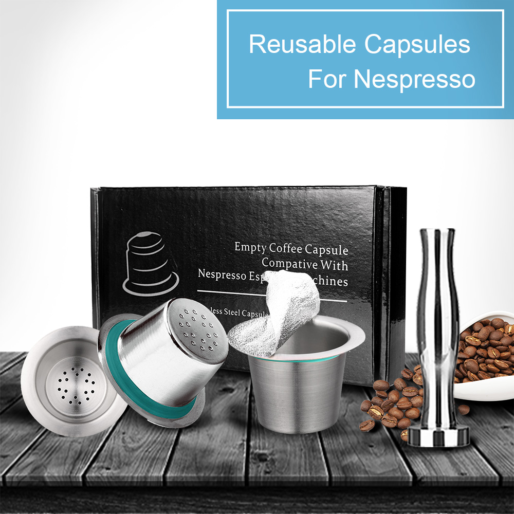 7PCS/Set  Stainless Steel Nespresso Reusable Coffee Capsule Coffee Tamper Refillable Cup Filter Nespresso Machines Maker Pod