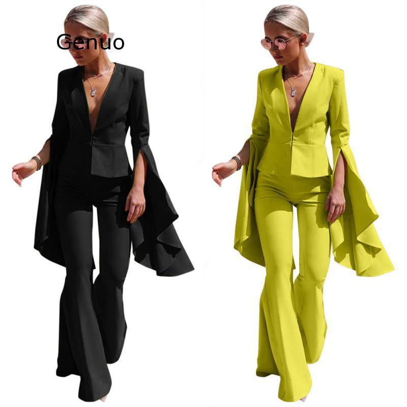 Genuo New 2019 Office Blazer Set Yellow Solid Blazer Suit Women Fall Pant Suit Long Sleeve Solid Slim Elegant Suits