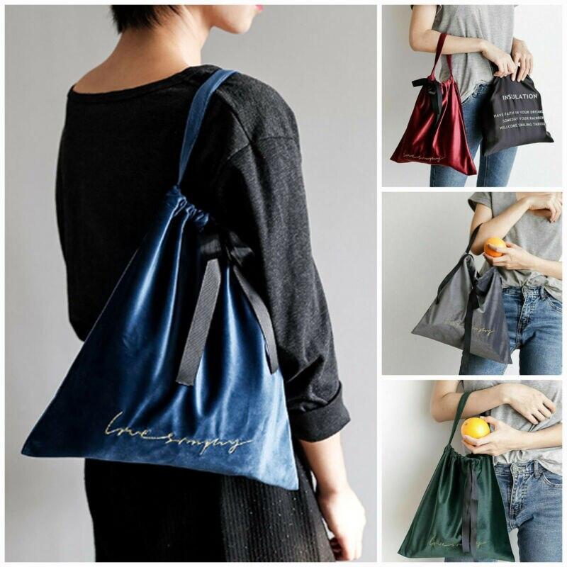 UK Women Velvet Drawstring Bag Girl Sport Backpack School Bag Sack Shipping Tote