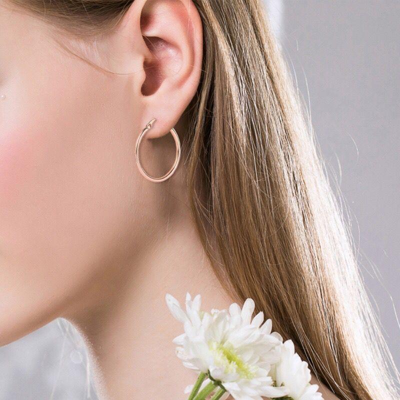 MxGxFam 30 мм цвет розового золота гладкие круглые серьги-кольца для женщин модные ювелирные изделия без камня